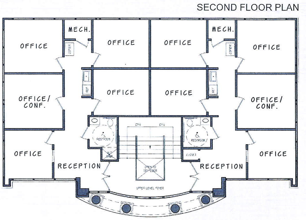 2 storey office building floor plan for Second floor design plans